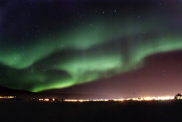 The Northern Lights over Akureyri.