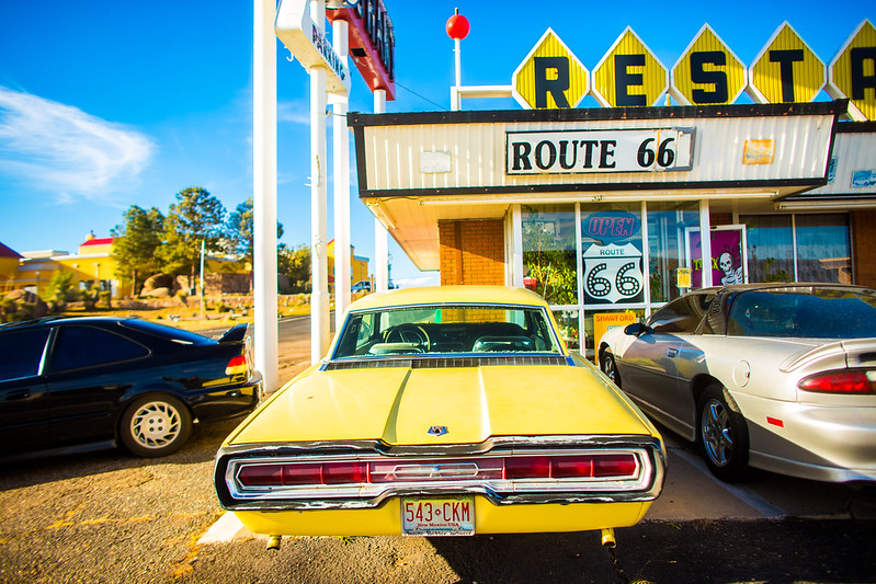 cars in front of the Route 66 Restaurant by Thomas Hawk